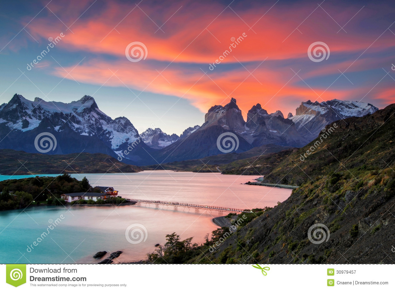 Sunset At Torres Del Paine Royalty Free Stock Photography.