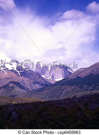 Stock Photos of Torres del Paine in Patagonia, Argentina.