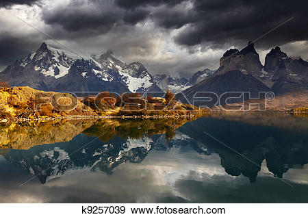 Stock Photograph of Sunrise in Torres del Paine National Park.
