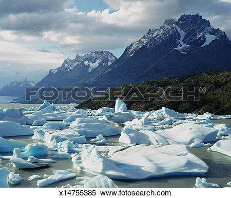 Stock Image of Chile, Patagonia, icebergs in Torres del Paine.