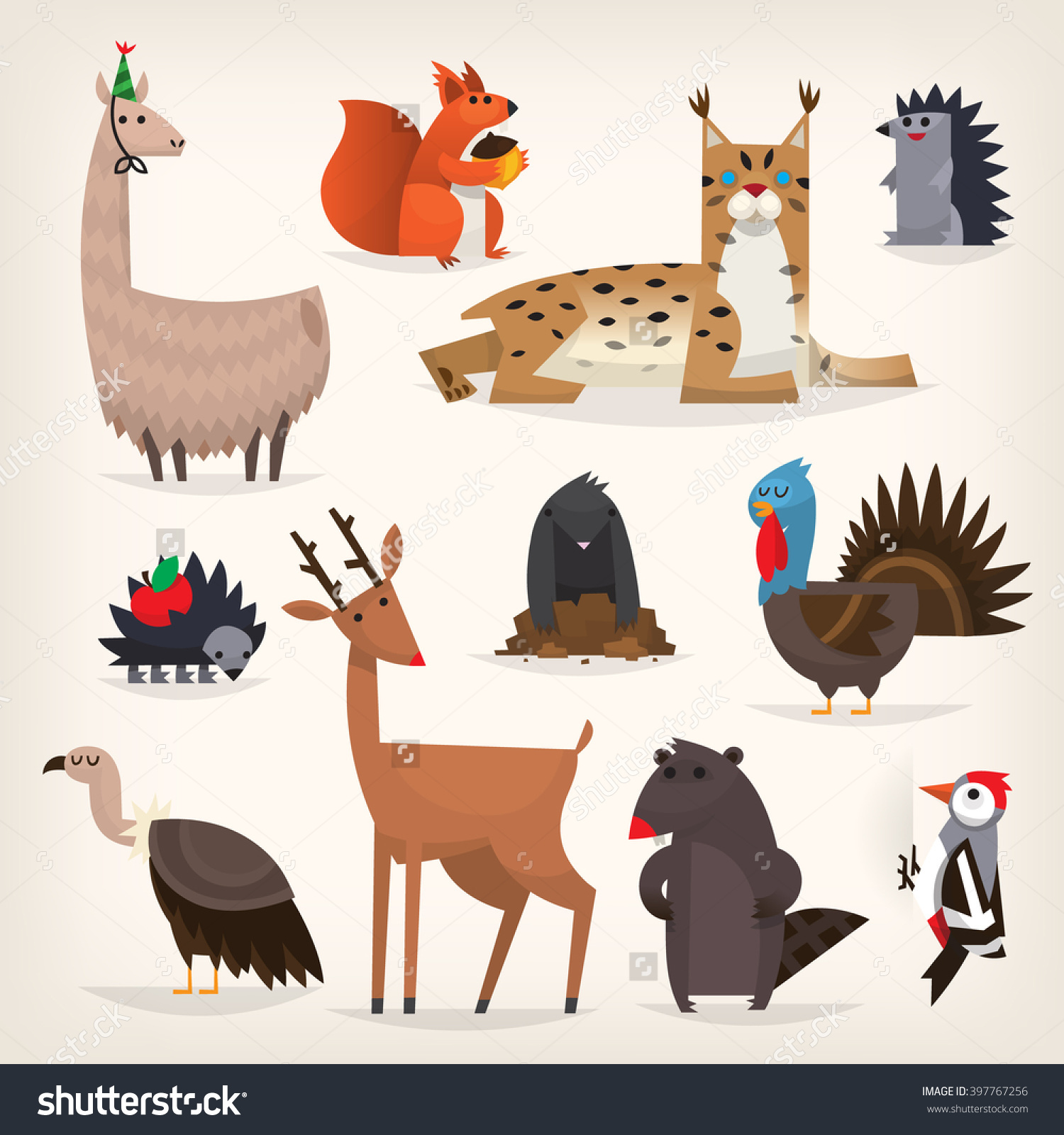 Colorful Cartoon Highland Midland Forest Animals Stock Vector.