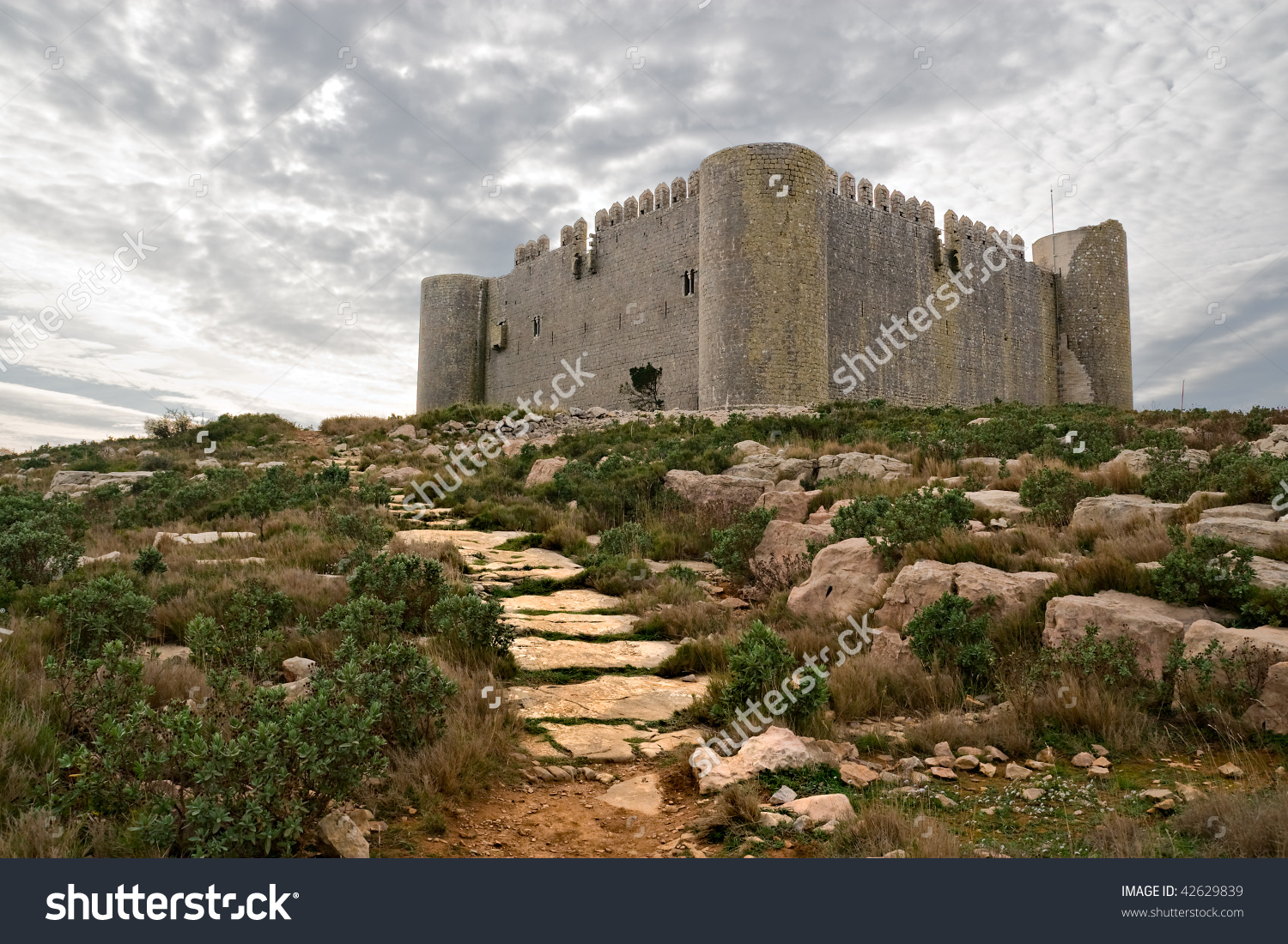 Medieval Castle Of Torroella De Montgri On The Top Of A Mountain.