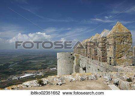 "Stock Photo of ""Battlements, fortress El Castell del Montgri, 1294."