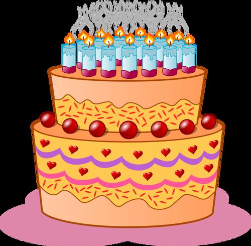 Ziua de naştere tort vector clip art imagine.