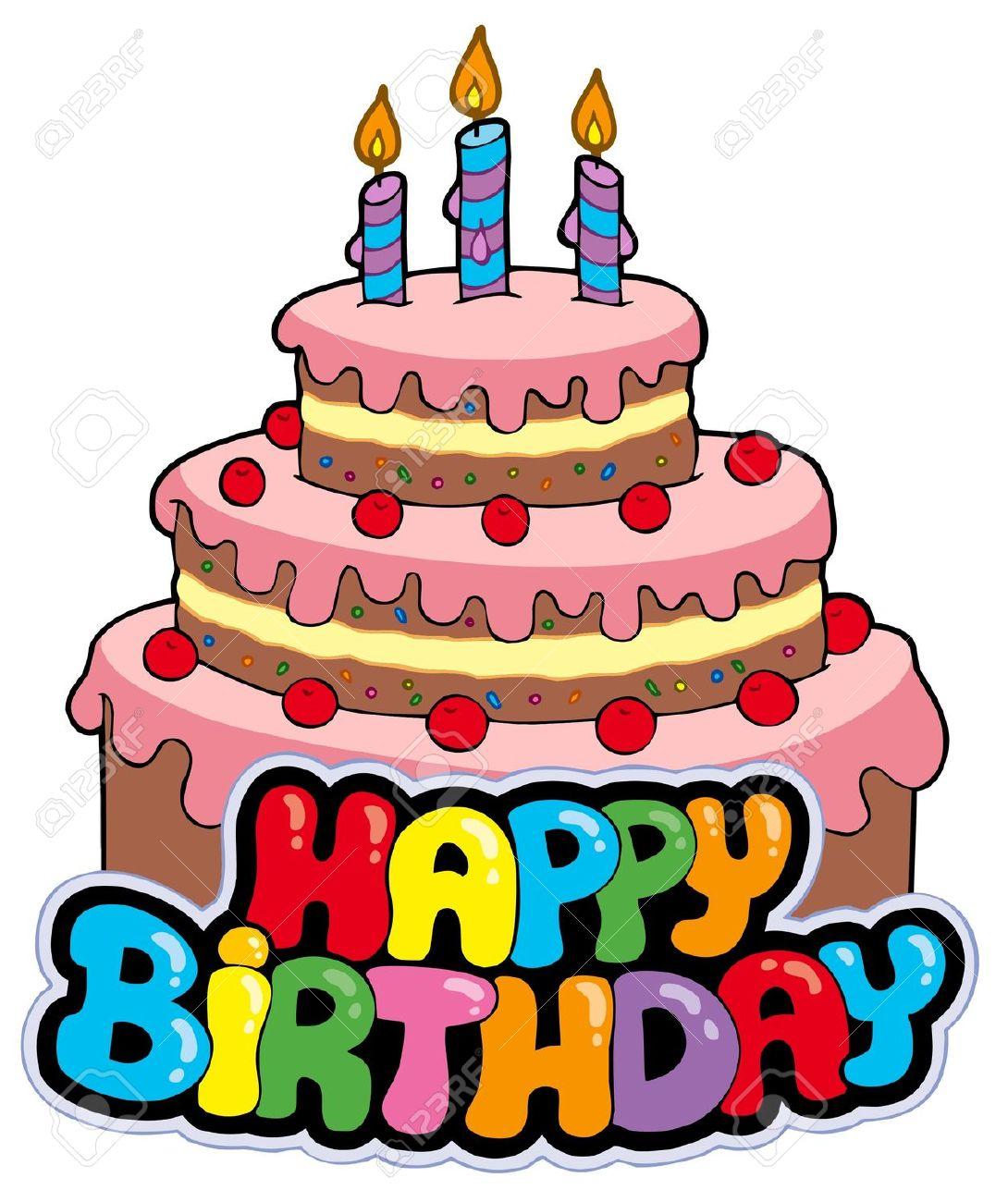 Happy birthday torte clipart.