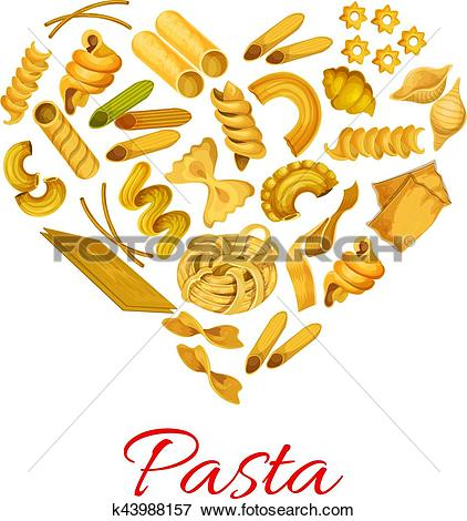 Clip Art of Pasta in shape of heart vector symbol k43988157.