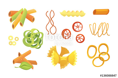 Vector set Italian pasta in cartoon style. Different types and.