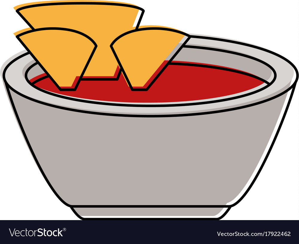 Tortilla chips with salsa icon image.