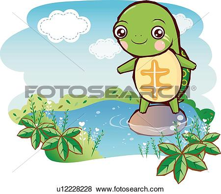 Stock Illustration of Turtle on a Rock in the Stream u12228228.