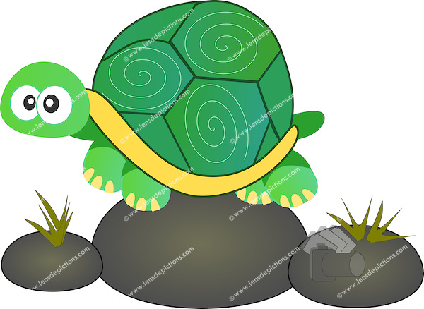 Stock illustration of cute turtle sitting on rock..