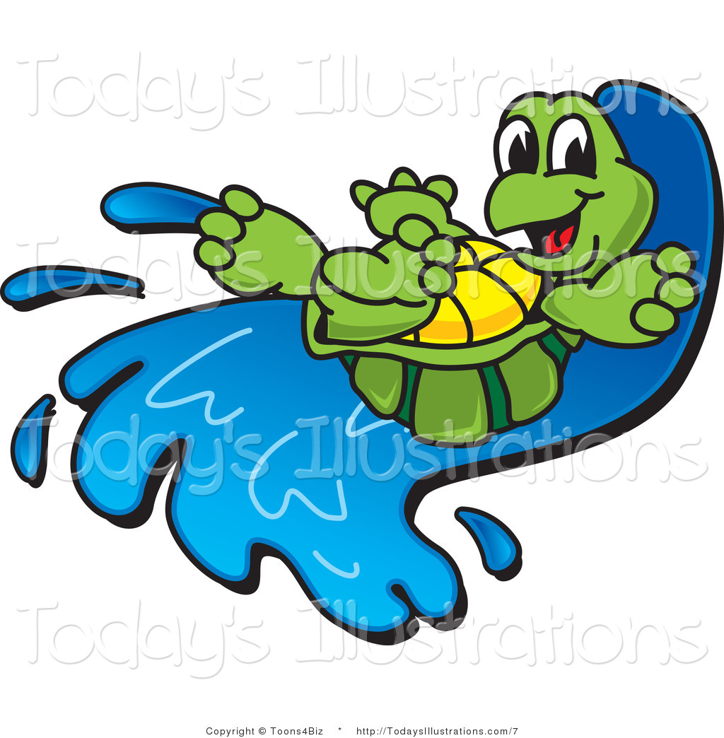 Vector Clipart of a Tortoise Going down a Water Slide by Toons4Biz.