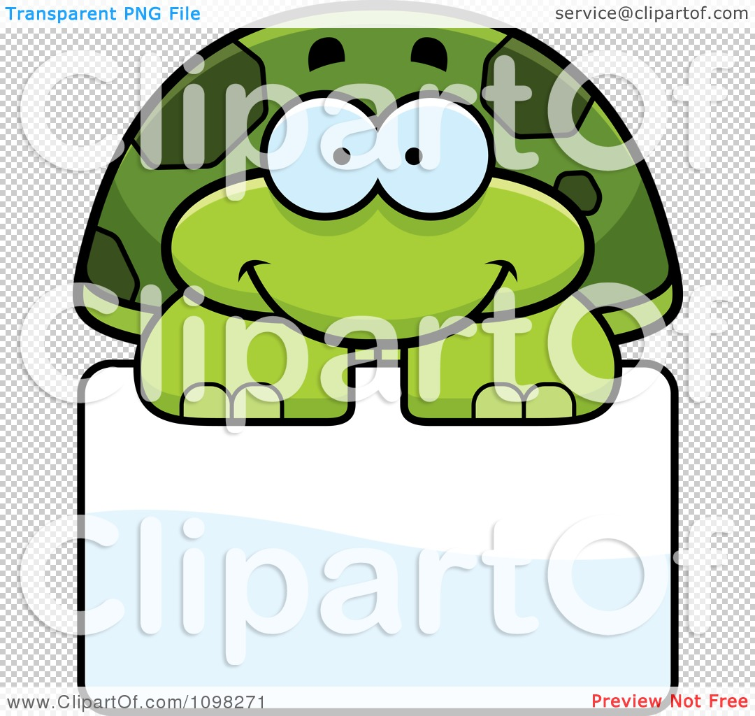 Clipart Happy Green Tortoise Turtle Over A Sign.