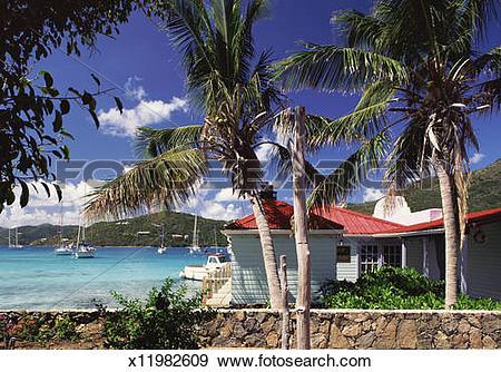 Stock Photograph of Beach Huts on the Coast of Tortola, British.