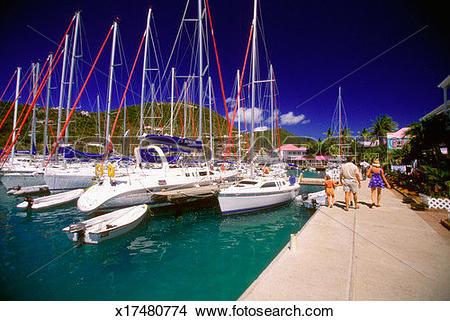 Stock Photo of Sailboats at Frenchman's Cay harbor, Tortola.