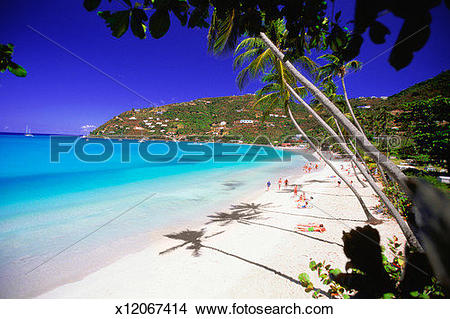 Stock Photo of Overhead view of tourists on Cane Garden Bay in.