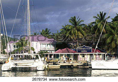 Stock Photo of Building on waterfront, Soper's Hole, Tortola.