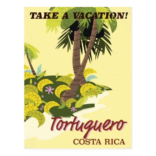 Tortuguero, Costa Rica vintage travel poster Postcard.