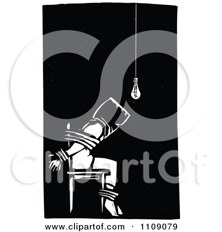 Clipart Man Being Tortured And Tied To A Chair Black And White.