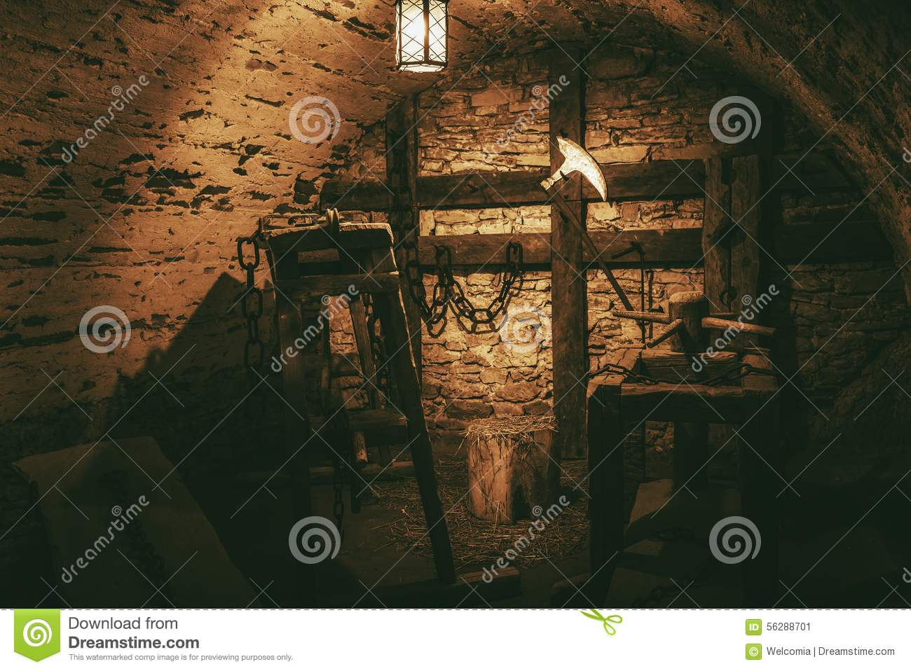 Medieval Torture Chamber Stock Illustration.