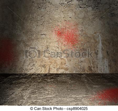 Stock Illustrations of Empty Concrete Room With Blood Spatter.