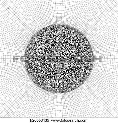 Clipart of Geometric Union Sphere With Torus k20553435.