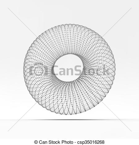 Clip Art Vector of Torus. Molecular lattice. Connection structure.