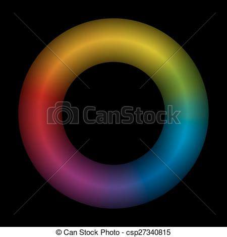 Vector Clip Art of Torus Rainbow Colored Black.