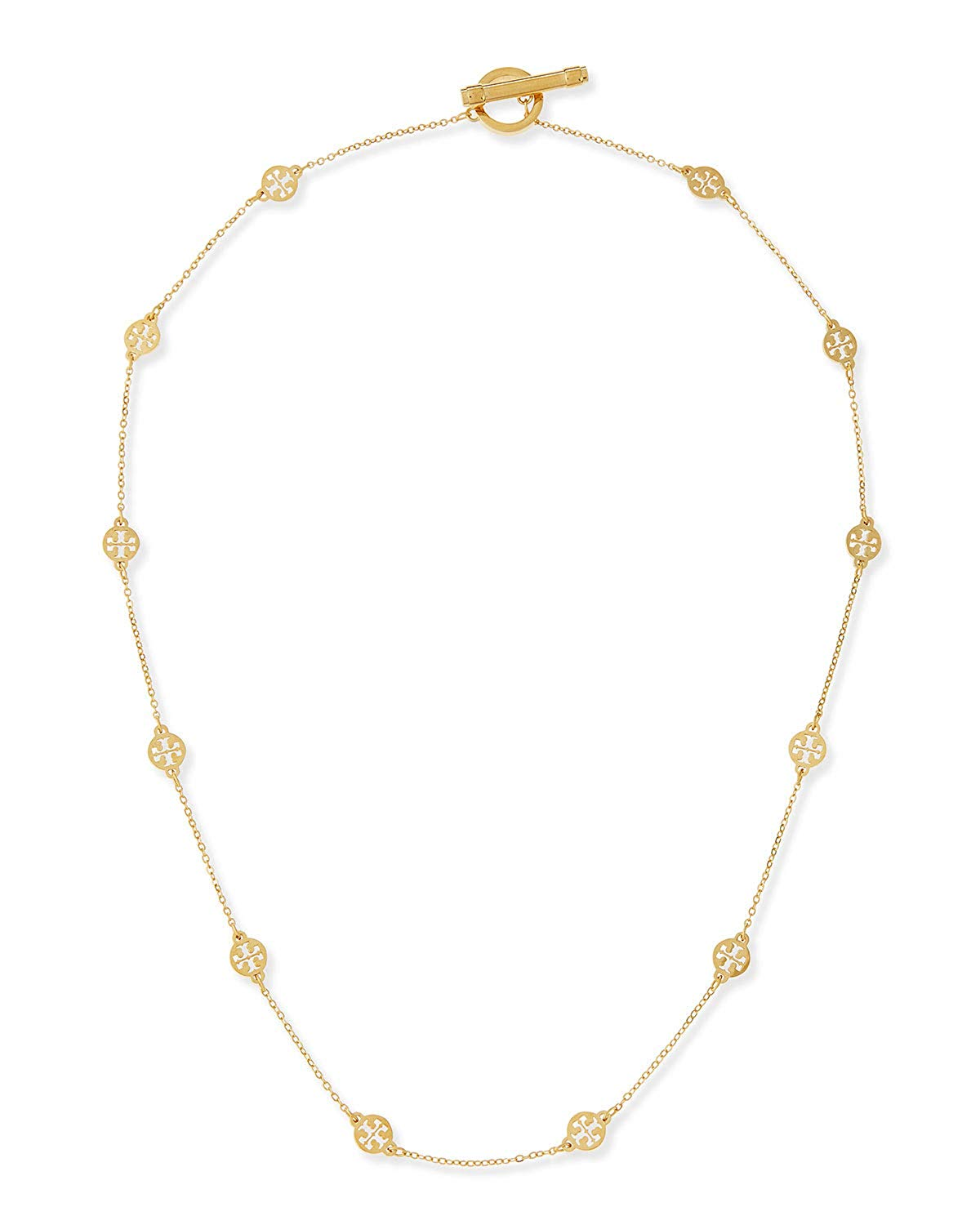 Tory Burch 50681 Gold Tone Logo Toggle Short Necklace.