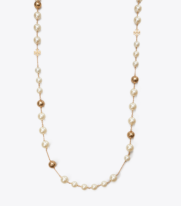 Tory Burch Logo Pearl Necklace: Women\'s Accessories.