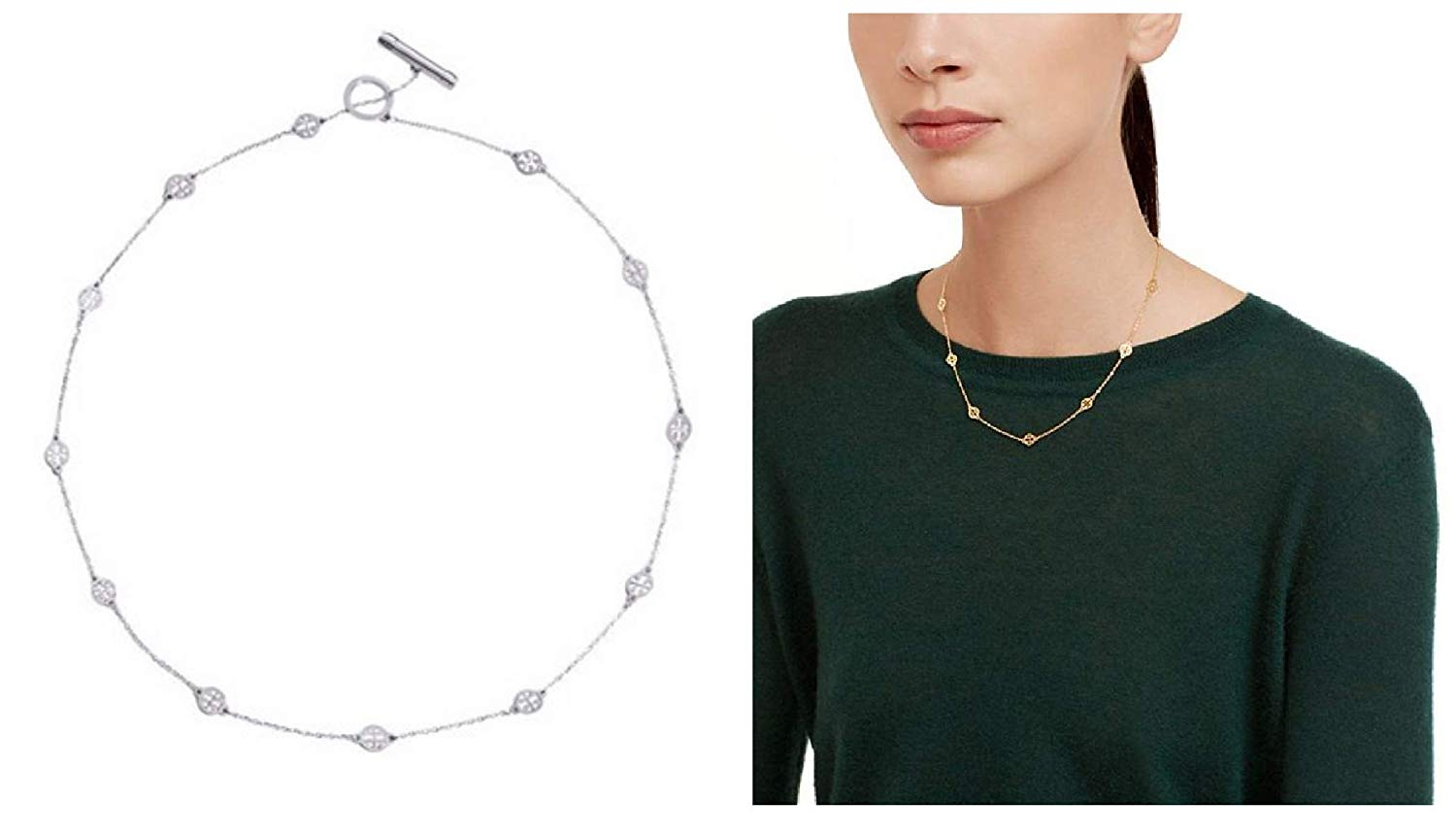 Amazon.com: Tory Burch Logo Toggle Short Necklace Silver.