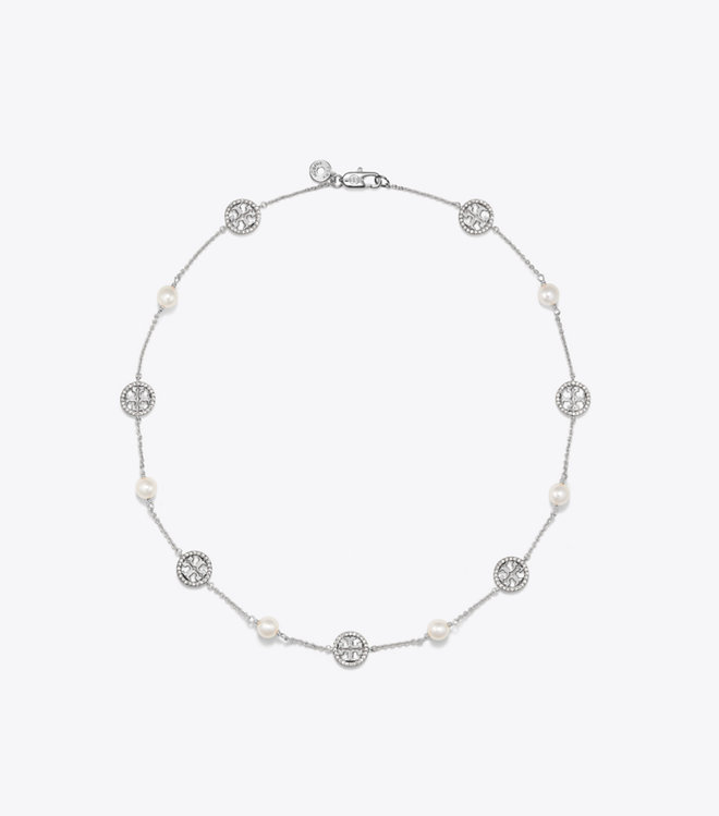 Crystal Pearl Logo Necklace : Women\'s View All.