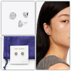 Details about Tory Burch Logo Circle Silver Stud Earrings.