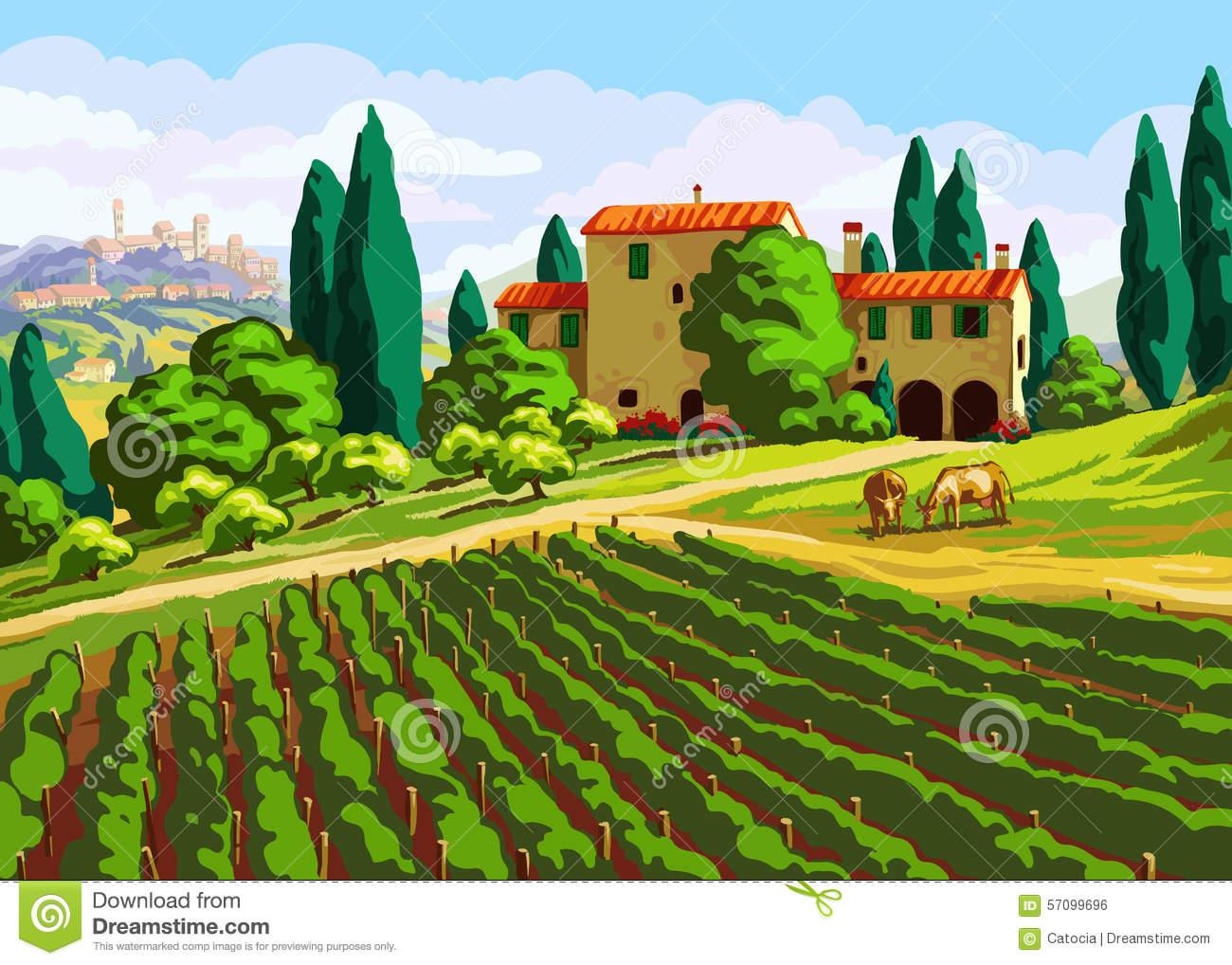 Clip Art Tuscany Landscape.