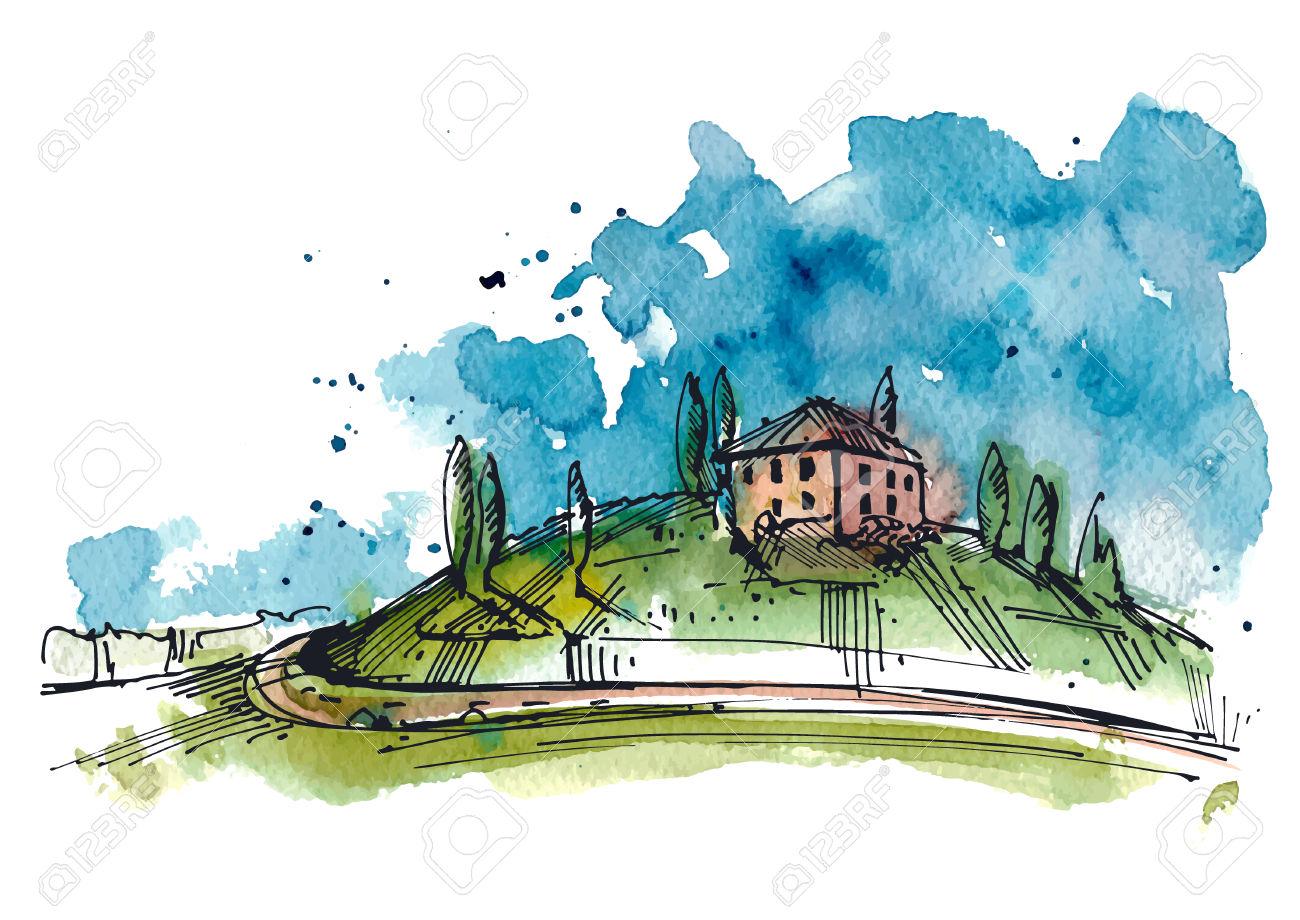 Ilustración De La Acuarela De Una Colina De La Toscana. Los.