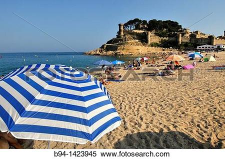 Stock Image of Tossa de Mar (view of the Vila Vella enceinte from.