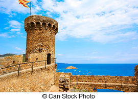 Pictures of castle in Tossa Del Mar,Costa Brava,Catalonia,Spain.