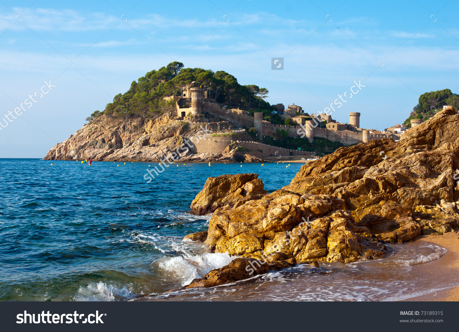 Medieval Castle In Tossa De Mar At Sunrise, Costa Brava, Spain.