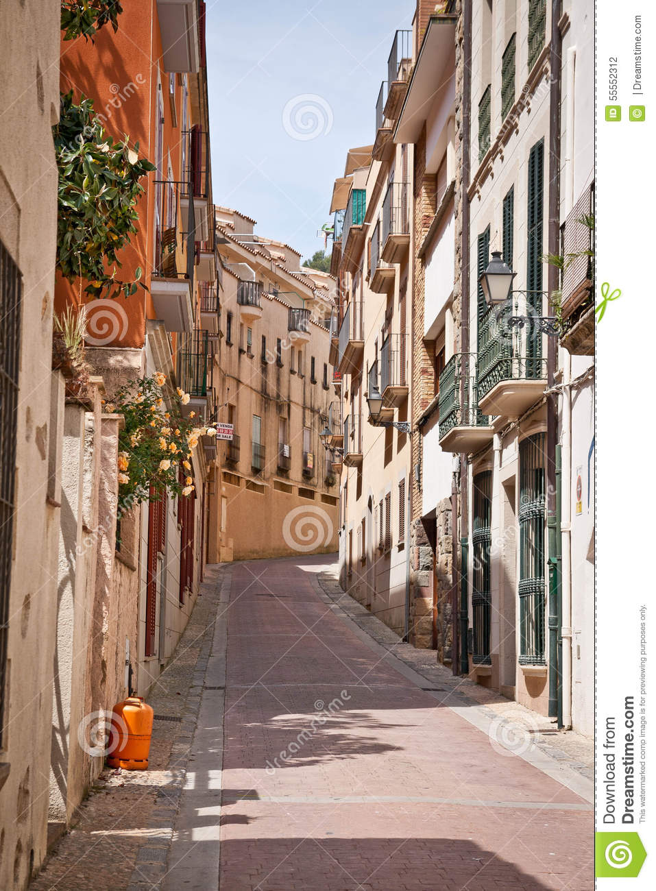 Tossa De Mar Street Stock Photo.