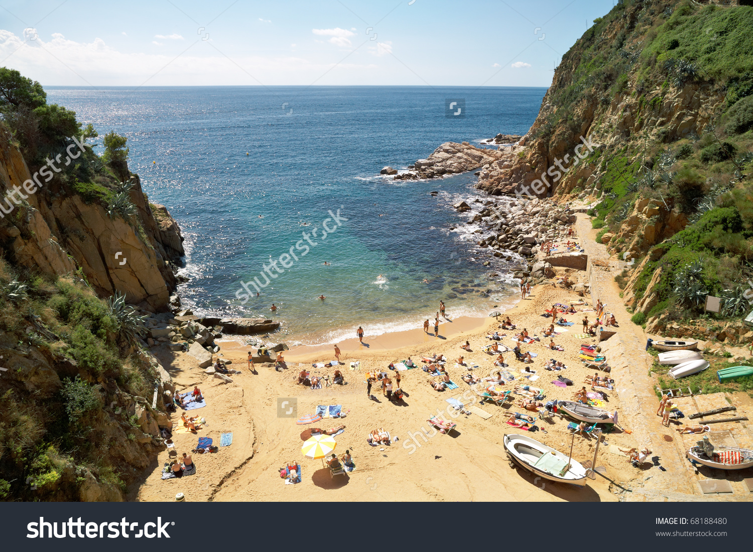 View Small Cove Comfortable Beach Costa Stock Photo 68188480.