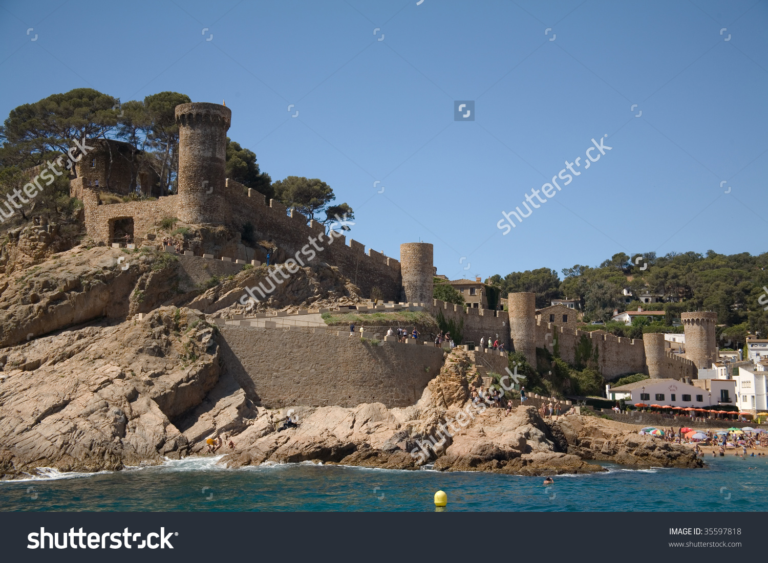 Castle On The Beach (Tossa Del Mar, Catalonia, Spain) Stock Photo.