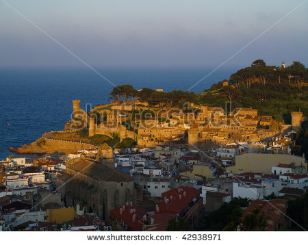 Small Spanish Town Tossa Del Mar At Sunset Stock Photo 42938971.