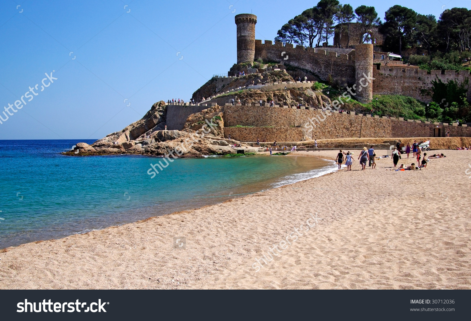 Tossa De Mar Castle Stone Wall Stock Photo 30712036.