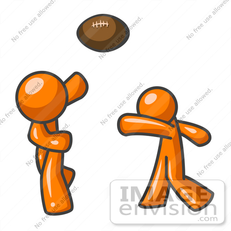 Clip Art Graphic of an Orange Guy Character Tossing A Football To.