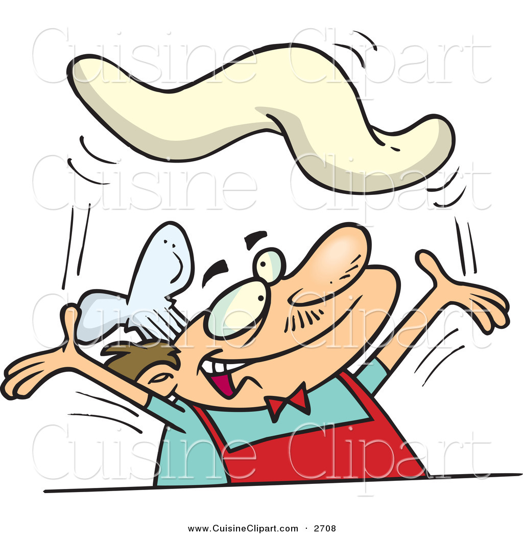 Cuisine Clipart of a Smiling Caucasian Male Chef Tossing Pizza.