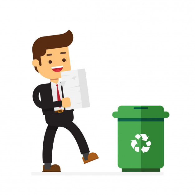 Businessman throws paper documents into a trash can Vector.