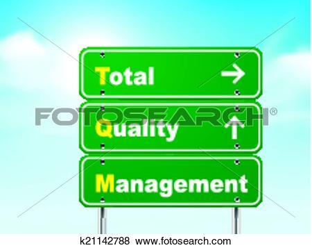 Clip Art of 3d total quality management road sign k21142788.