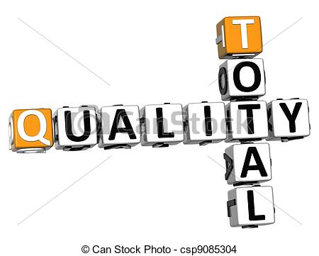 Drawing of 3D Total Quality text Crossword over white background.