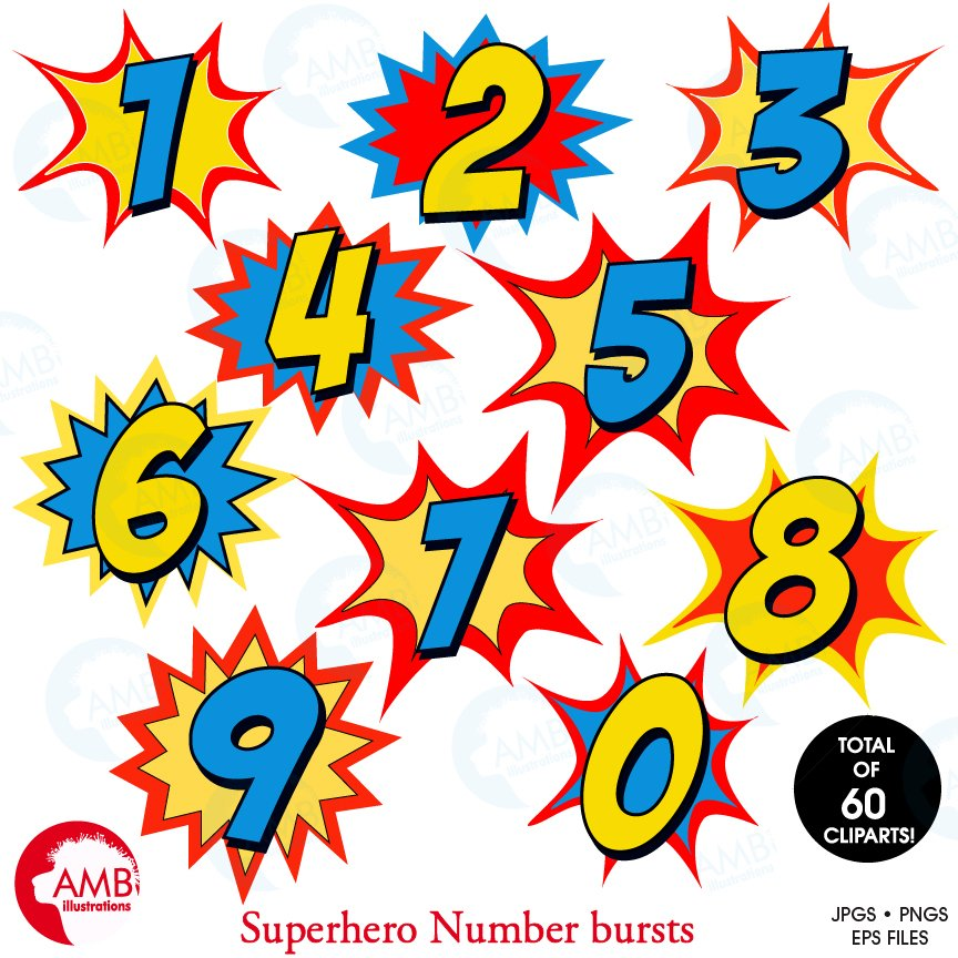 Starburst Numbers Clipart, 1340.