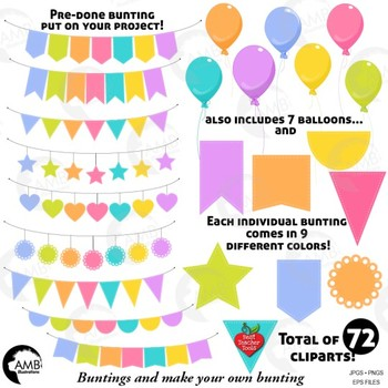 Bunting Clipart, 72 Bunting and balloons clipart {Best Teacher Tools}  AMB.