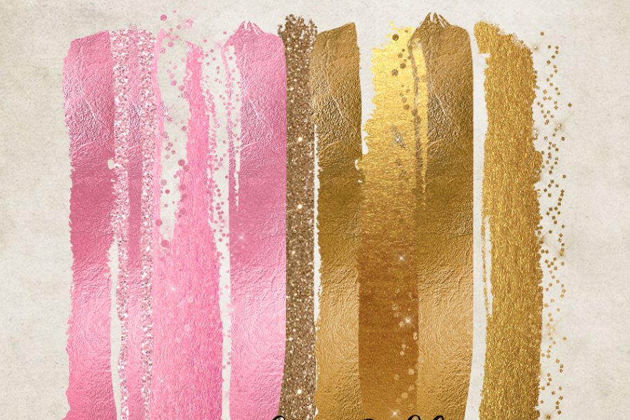 Pink and Gold Glam Paint Strokes.